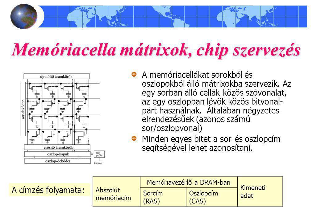 Memóriacella mátrixok, chip szervezés