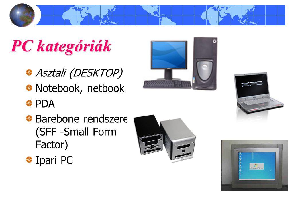 PC kategóriák Asztali (DESKTOP) Notebook, netbook PDA