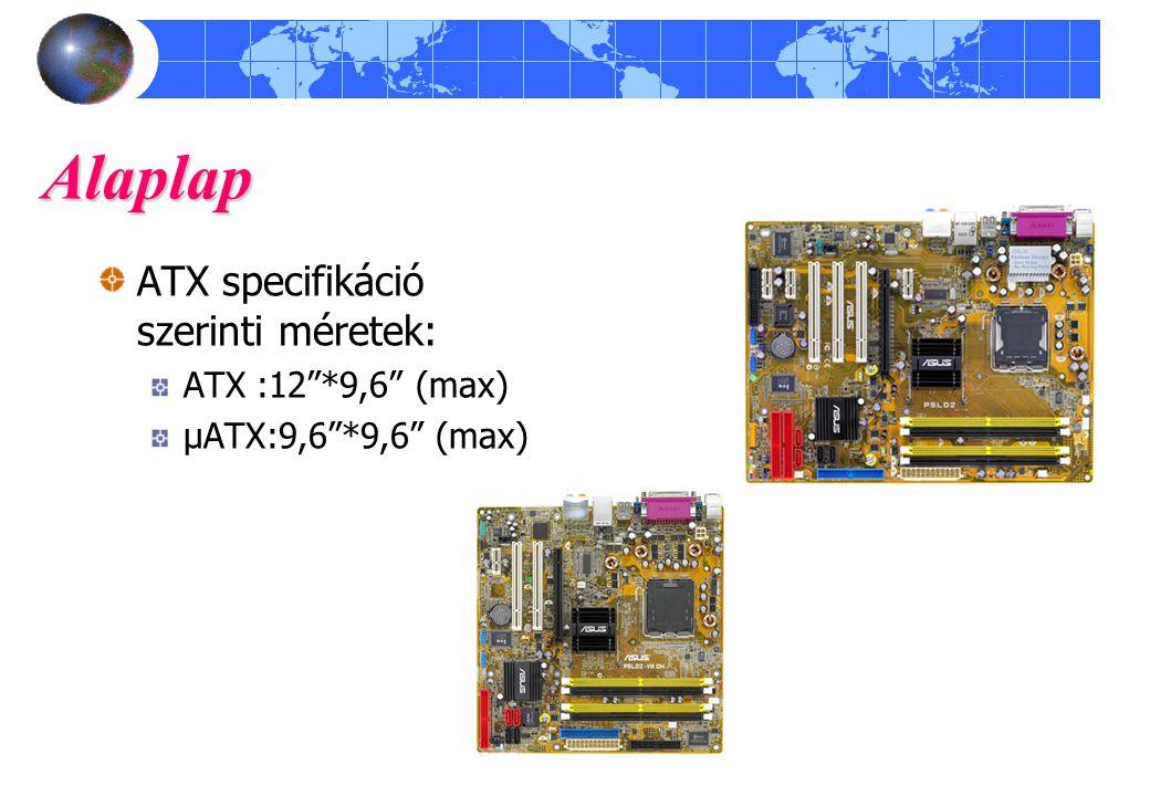 Alaplap ATX specifikáció szerinti méretek: ATX :12 *9,6 (max)