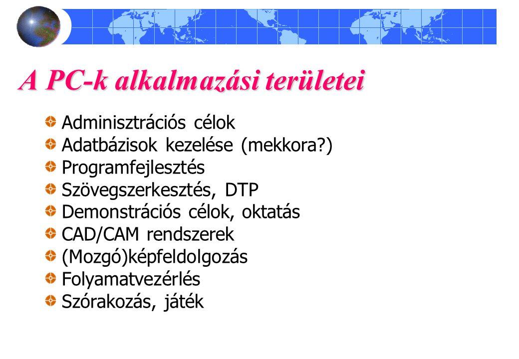 A PC-k alkalmazási területei