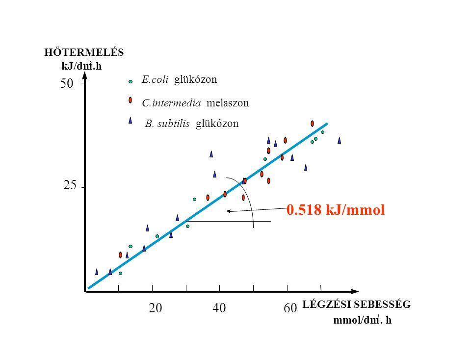 0.518 kJ/mmol 50 20 40 60 25 HŐTERMELÉS kJ/dm .h LÉGZÉSI SEBESSÉG