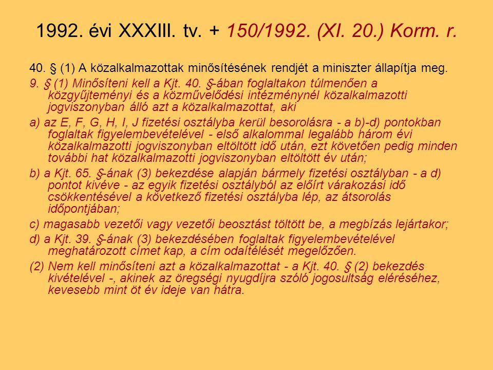 1992. évi XXXIII. tv. + 150/1992. (XI. 20.) Korm. r.