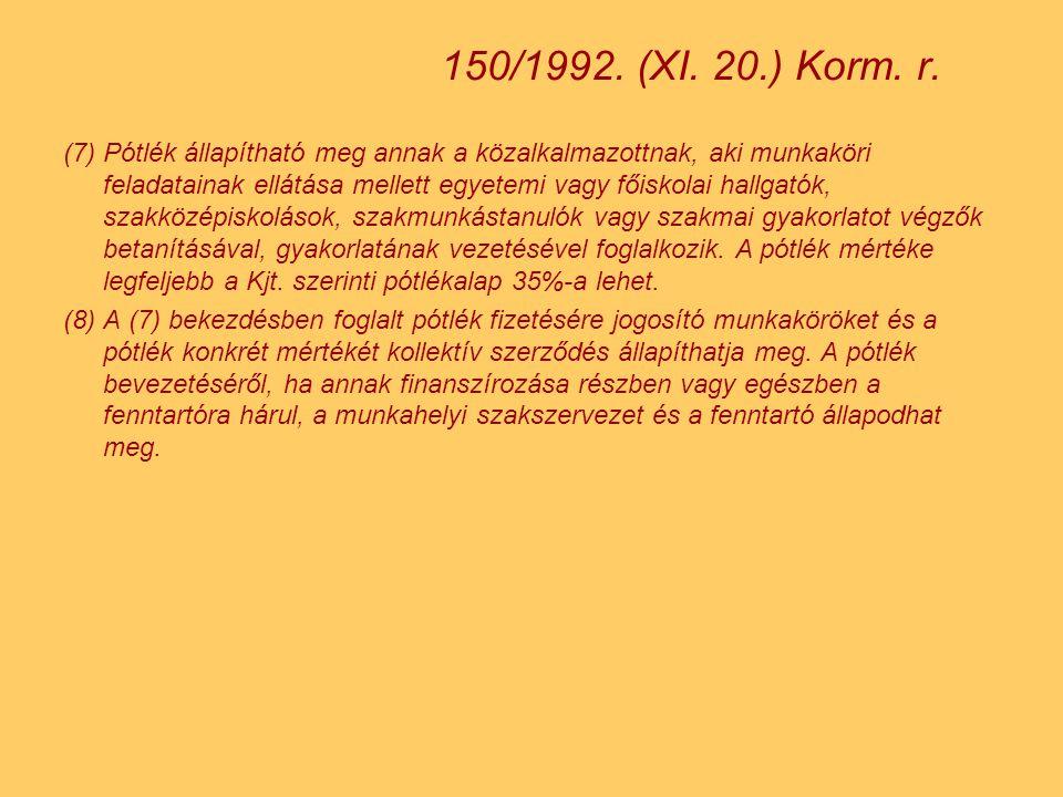 150/1992. (XI. 20.) Korm. r.