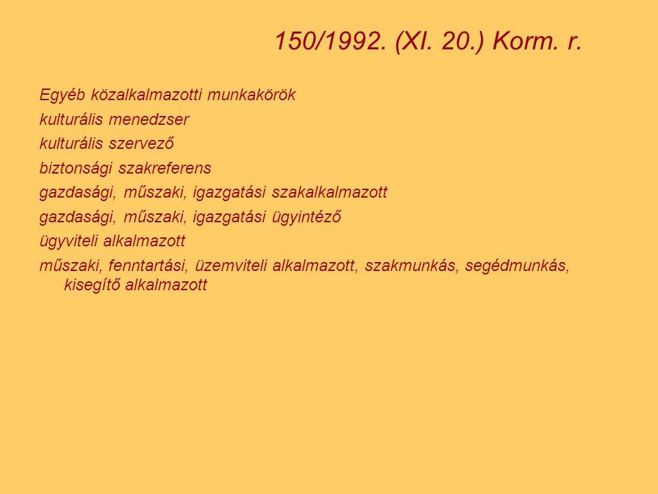 150/1992. (XI. 20.) Korm. r. Egyéb közalkalmazotti munkakörök