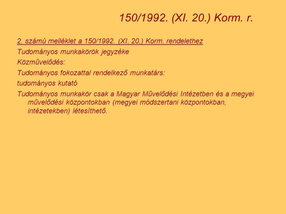150/1992. (XI. 20.) Korm. r. 2. számú melléklet a 150/1992. (XI. 20.) Korm. rendelethez. Tudományos munkakörök jegyzéke.