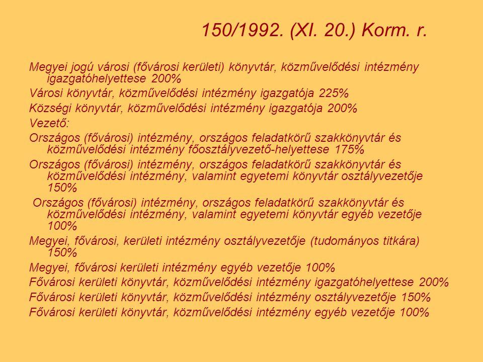 150/1992. (XI. 20.) Korm. r. Megyei jogú városi (fővárosi kerületi) könyvtár, közművelődési intézmény igazgatóhelyettese 200%