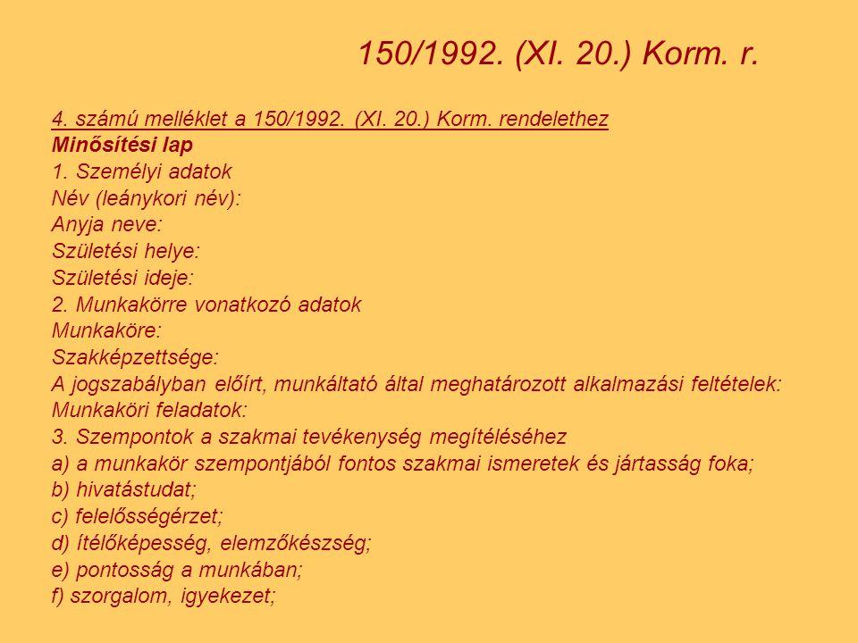 150/1992. (XI. 20.) Korm. r. 4. számú melléklet a 150/1992. (XI. 20.) Korm. rendelethez. Minősítési lap.