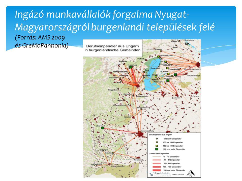 Ingázó munkavállalók forgalma Nyugat-Magyarországról burgenlandi települések felé (Forrás: AMS 2009 és GreMoPannonia)