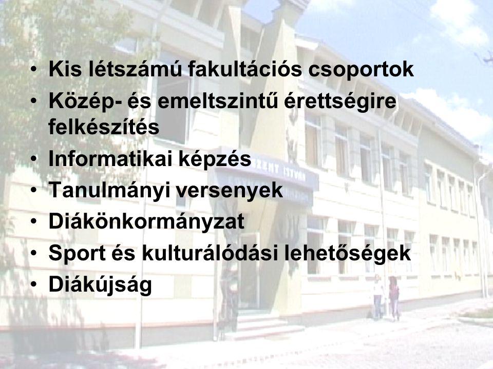 Kis létszámú fakultációs csoportok