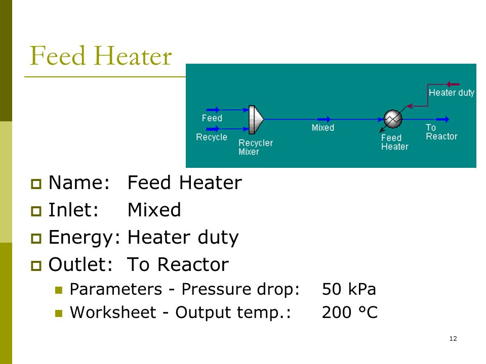 Feed Heater Name: Feed Heater Inlet: Mixed Energy: Heater duty