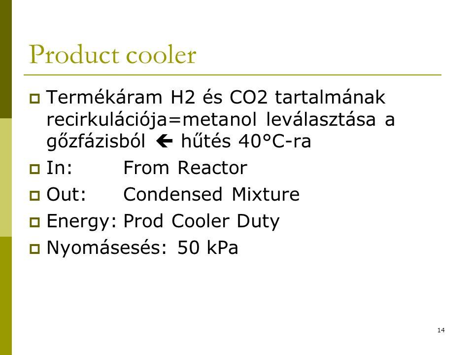 Product cooler Termékáram H2 és CO2 tartalmának recirkulációja=metanol leválasztása a gőzfázisból  hűtés 40°C-ra.