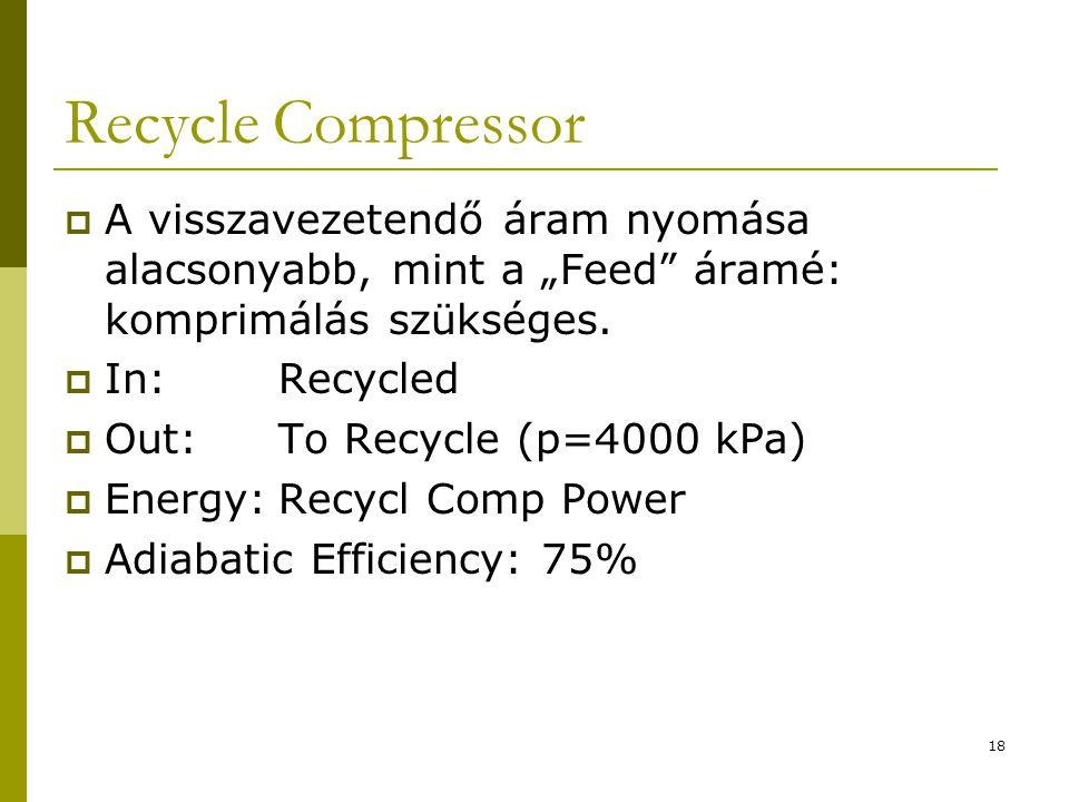 """Recycle Compressor A visszavezetendő áram nyomása alacsonyabb, mint a """"Feed áramé: komprimálás szükséges."""