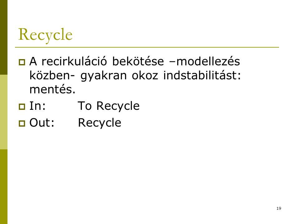 Recycle A recirkuláció bekötése –modellezés közben- gyakran okoz indstabilitást: mentés. In: To Recycle.