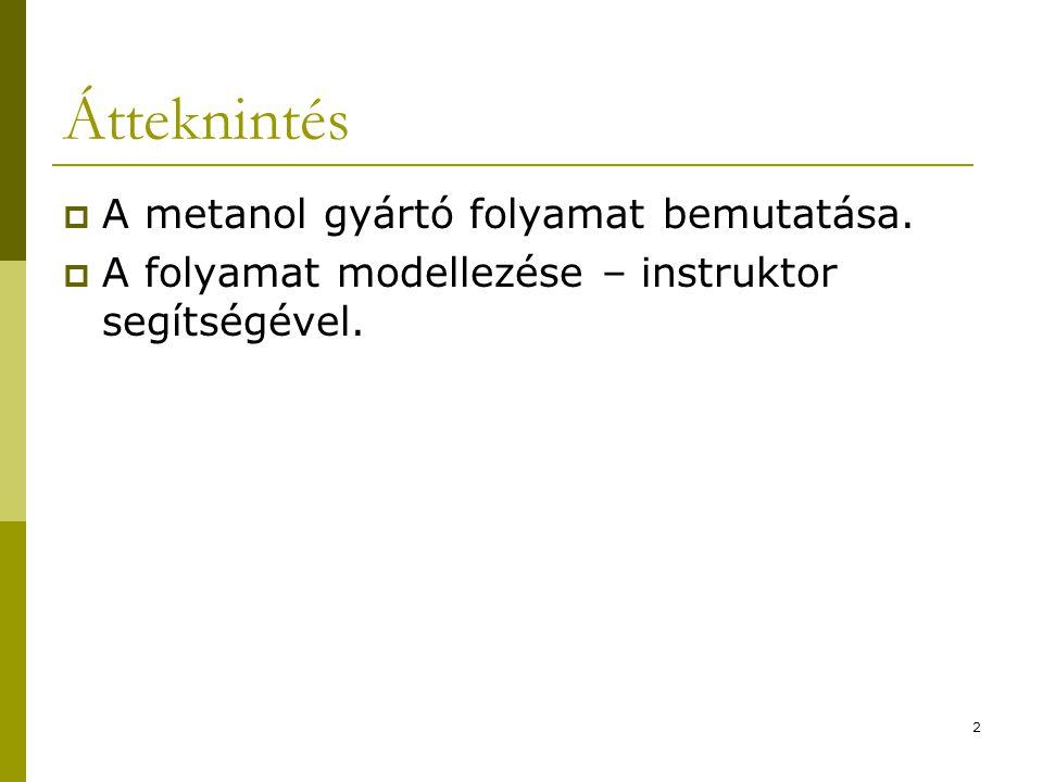 Átteknintés A metanol gyártó folyamat bemutatása.