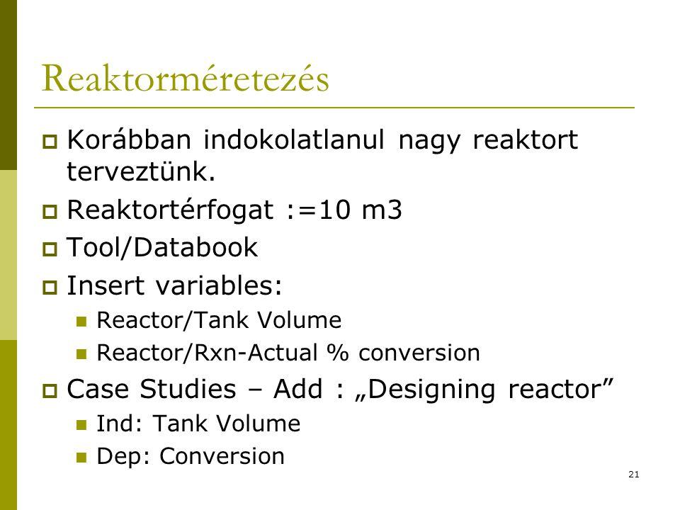 Reaktorméretezés Korábban indokolatlanul nagy reaktort terveztünk.