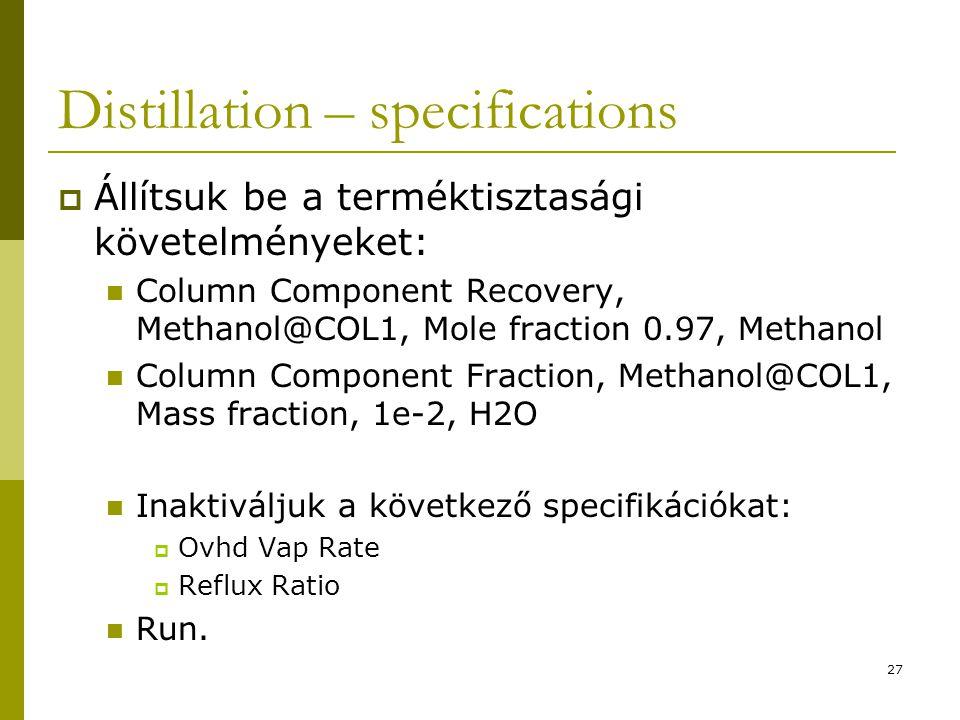 Distillation – specifications