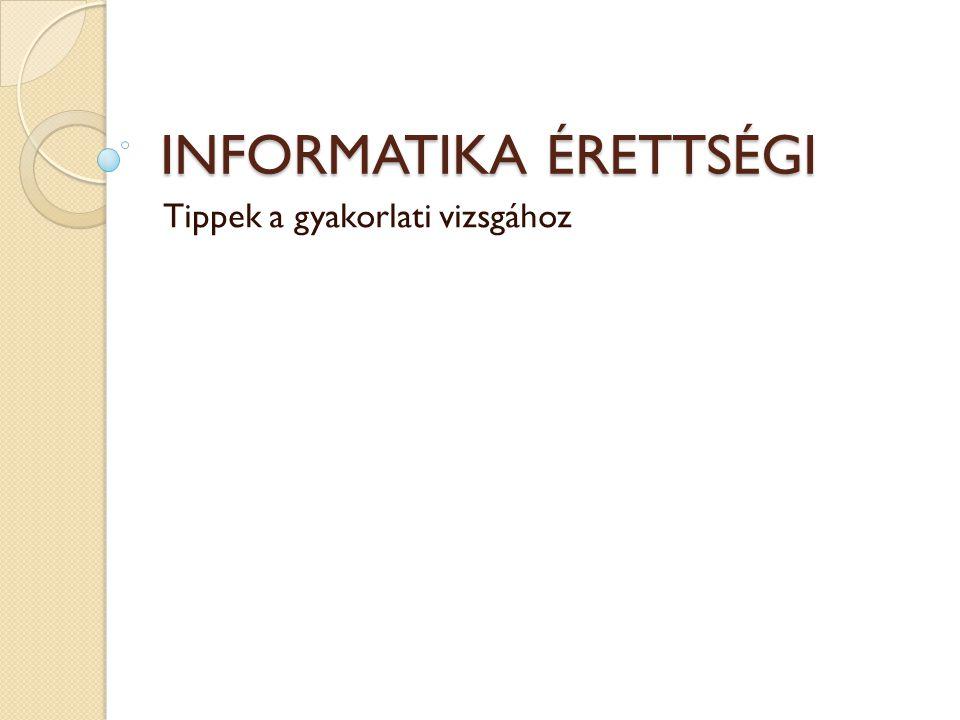 Informatika érettségi