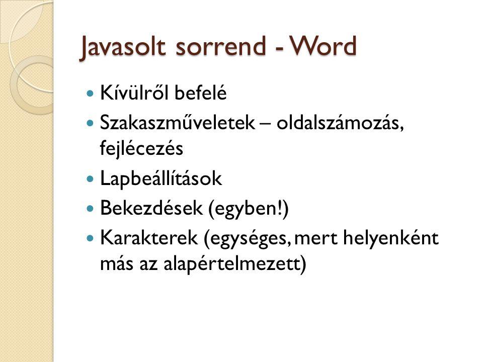Javasolt sorrend - Word