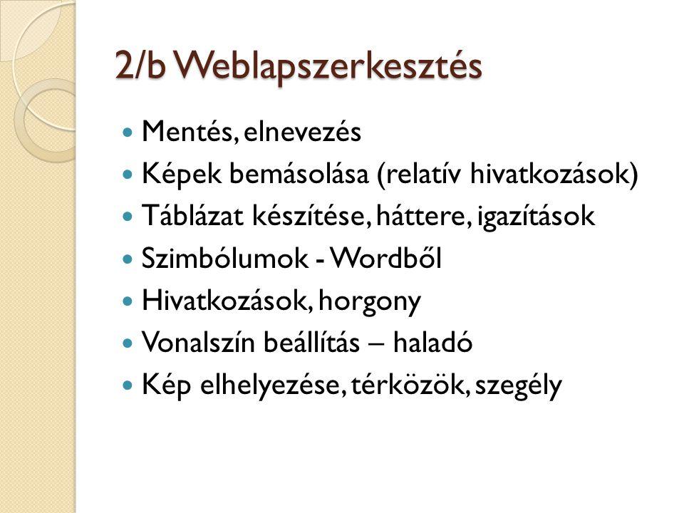 2/b Weblapszerkesztés Mentés, elnevezés