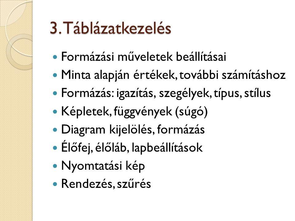 3. Táblázatkezelés Formázási műveletek beállításai