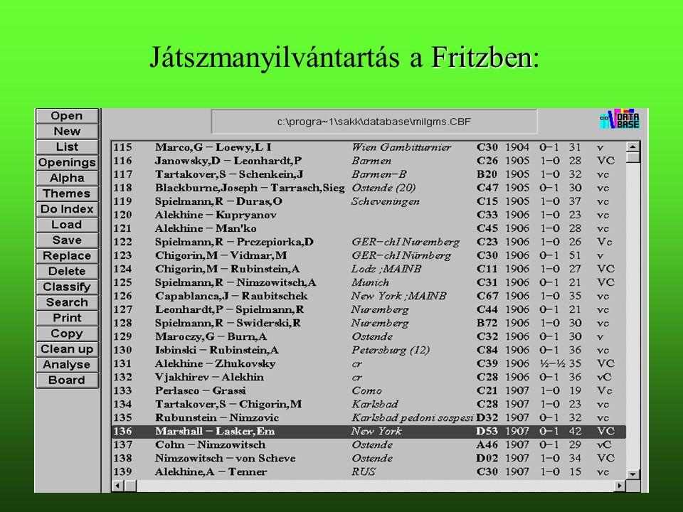 Játszmanyilvántartás a Fritzben: