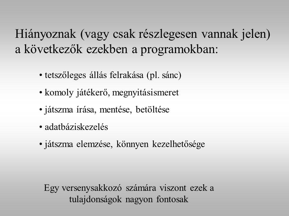 Hiányoznak (vagy csak részlegesen vannak jelen) a következők ezekben a programokban: