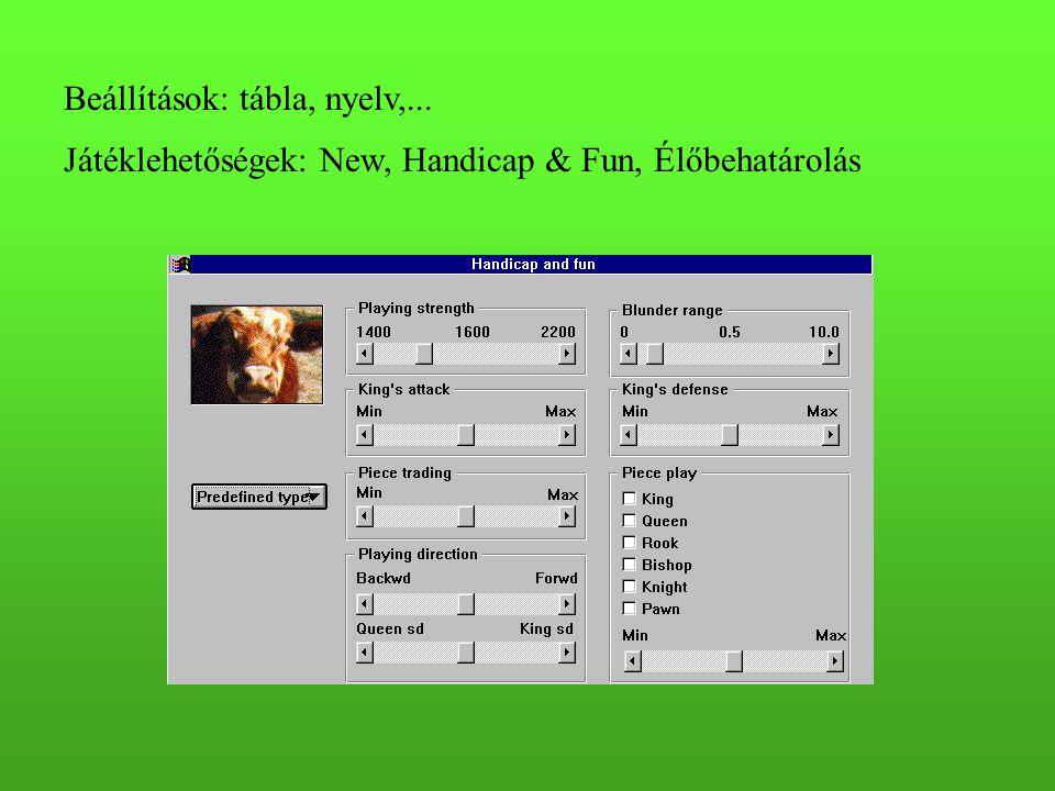 Beállítások: tábla, nyelv,...