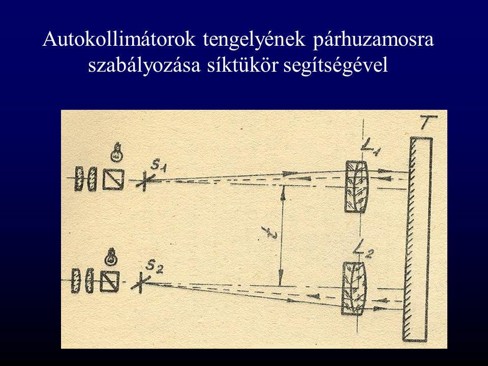 Autokollimátorok tengelyének párhuzamosra szabályozása síktükör segítségével