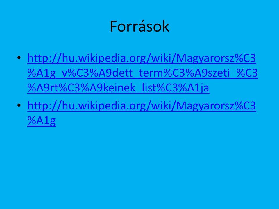 Források http://hu.wikipedia.org/wiki/Magyarorsz%C3%A1g_v%C3%A9dett_term%C3%A9szeti_%C3%A9rt%C3%A9keinek_list%C3%A1ja.