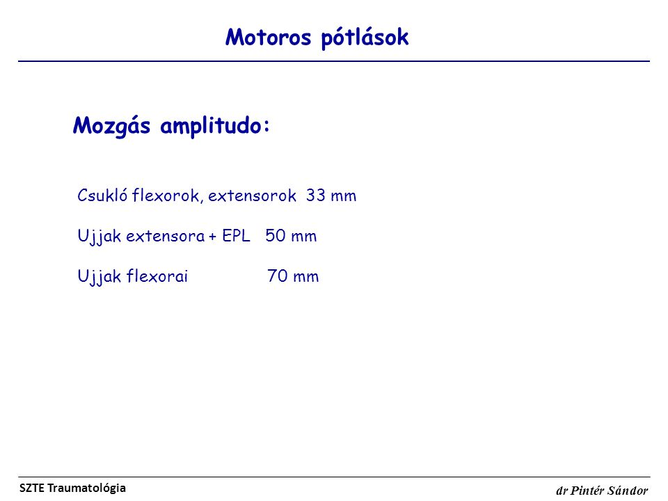Mozgás amplitudo: Motoros pótlások Csukló flexorok, extensorok 33 mm