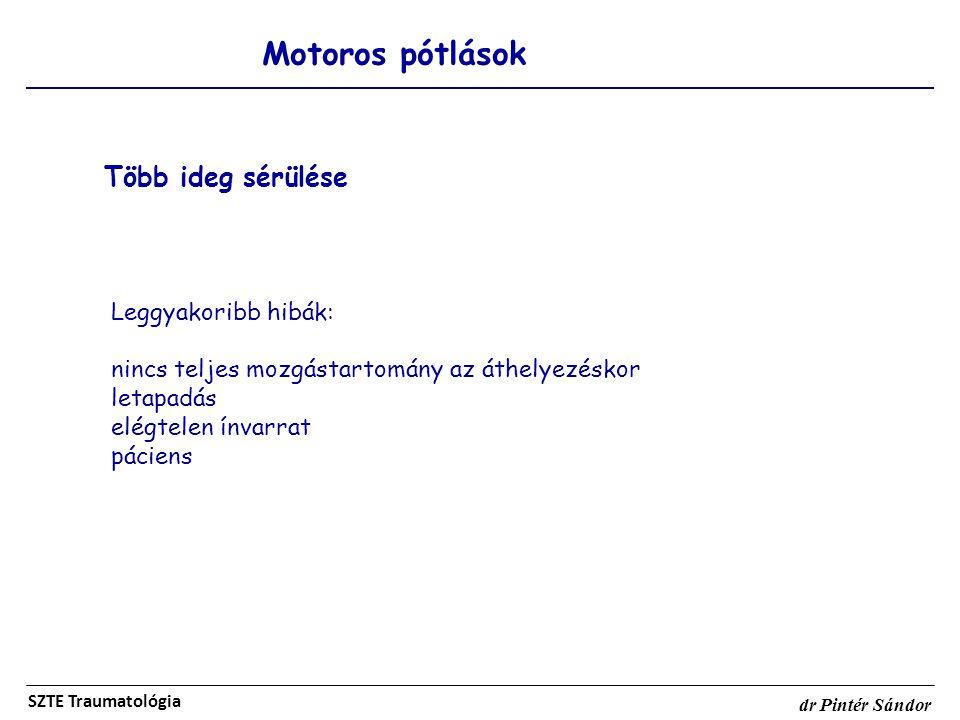 Több ideg sérülése Motoros pótlások Leggyakoribb hibák: