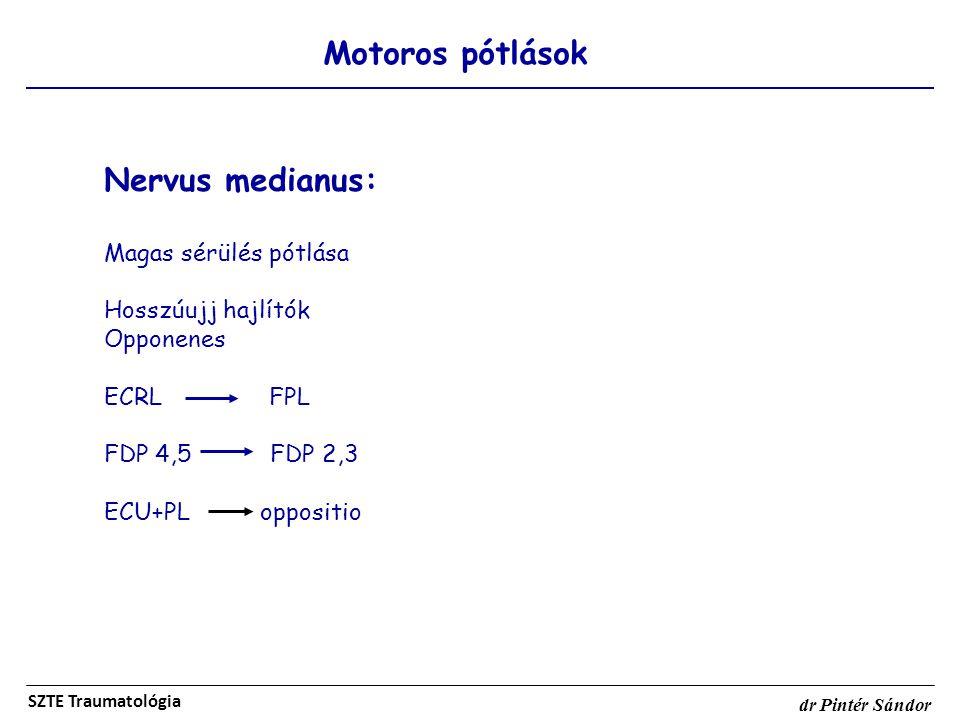 Nervus medianus: Motoros pótlások Magas sérülés pótlása
