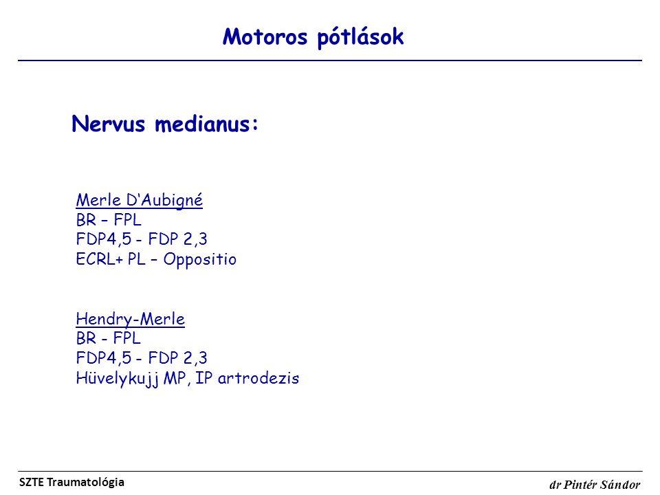 Nervus medianus: Motoros pótlások Merle D'Aubigné BR – FPL