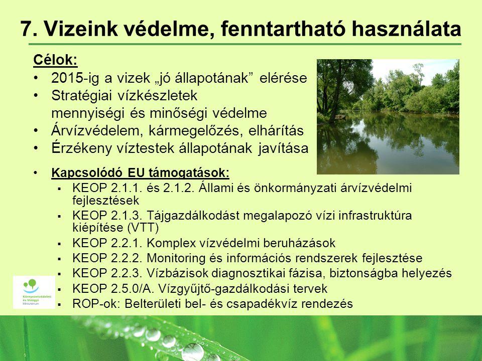 7. Vizeink védelme, fenntartható használata