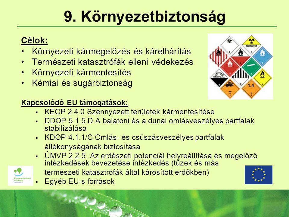 9. Környezetbiztonság Célok: Környezeti kármegelőzés és kárelhárítás