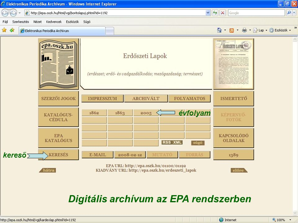 Digitális archívum az EPA rendszerben