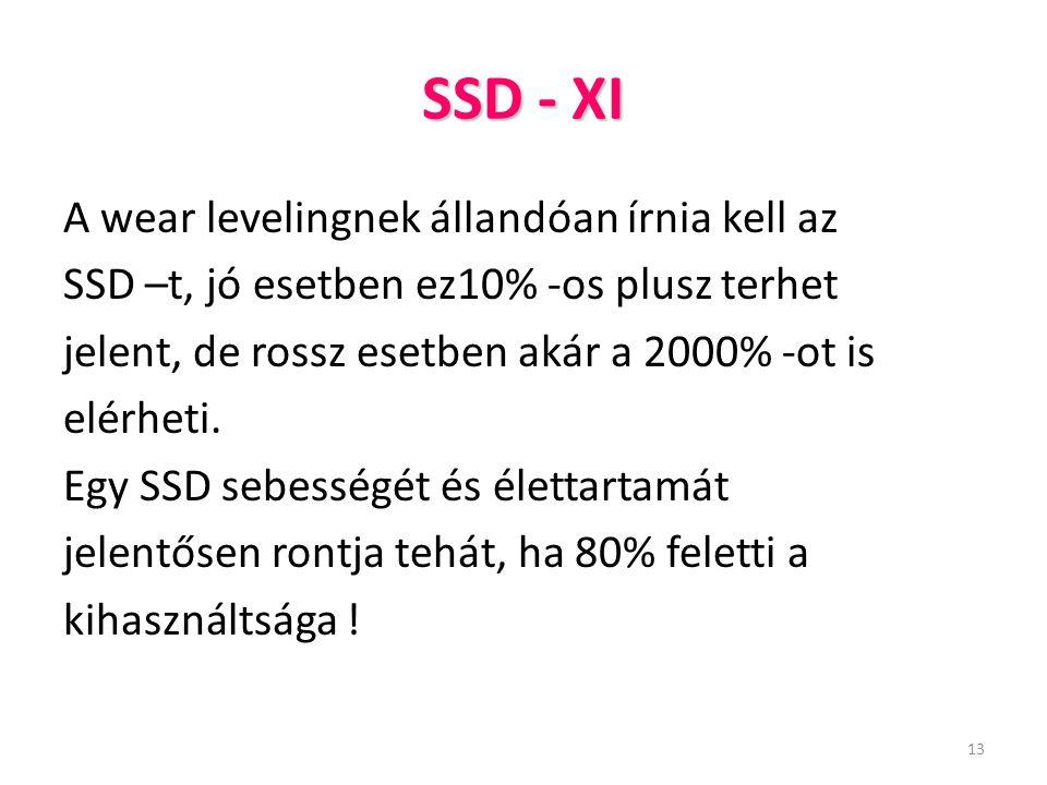 SSD - XI A wear levelingnek állandóan írnia kell az