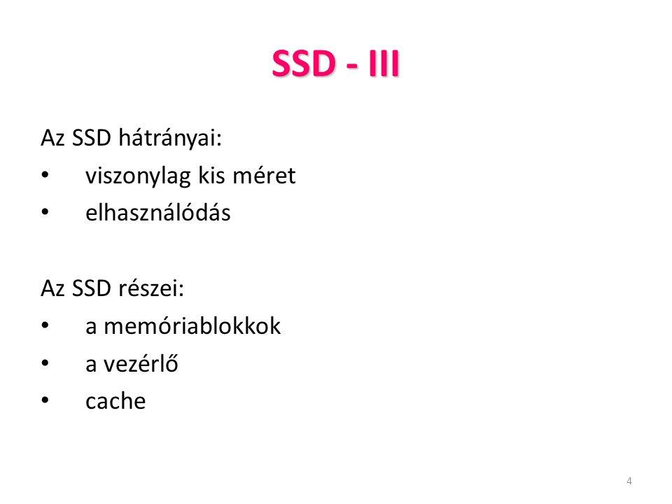 SSD - III Az SSD hátrányai: viszonylag kis méret elhasználódás