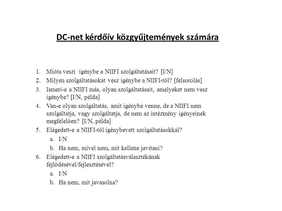 DC-net kérdőív közgyűjtemények számára