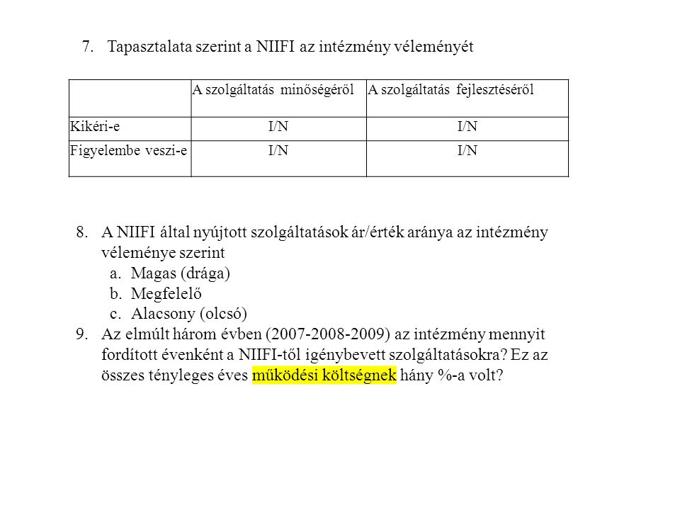 Tapasztalata szerint a NIIFI az intézmény véleményét
