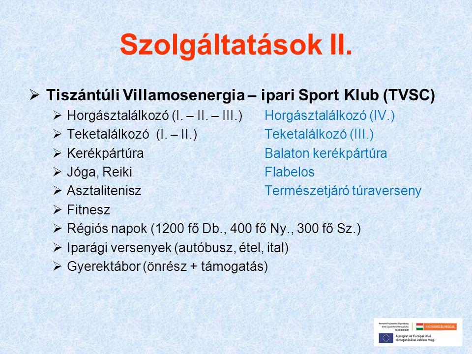 Szolgáltatások II. Tiszántúli Villamosenergia – ipari Sport Klub (TVSC) Horgásztalálkozó (I. – II. – III.) Horgásztalálkozó (IV.)