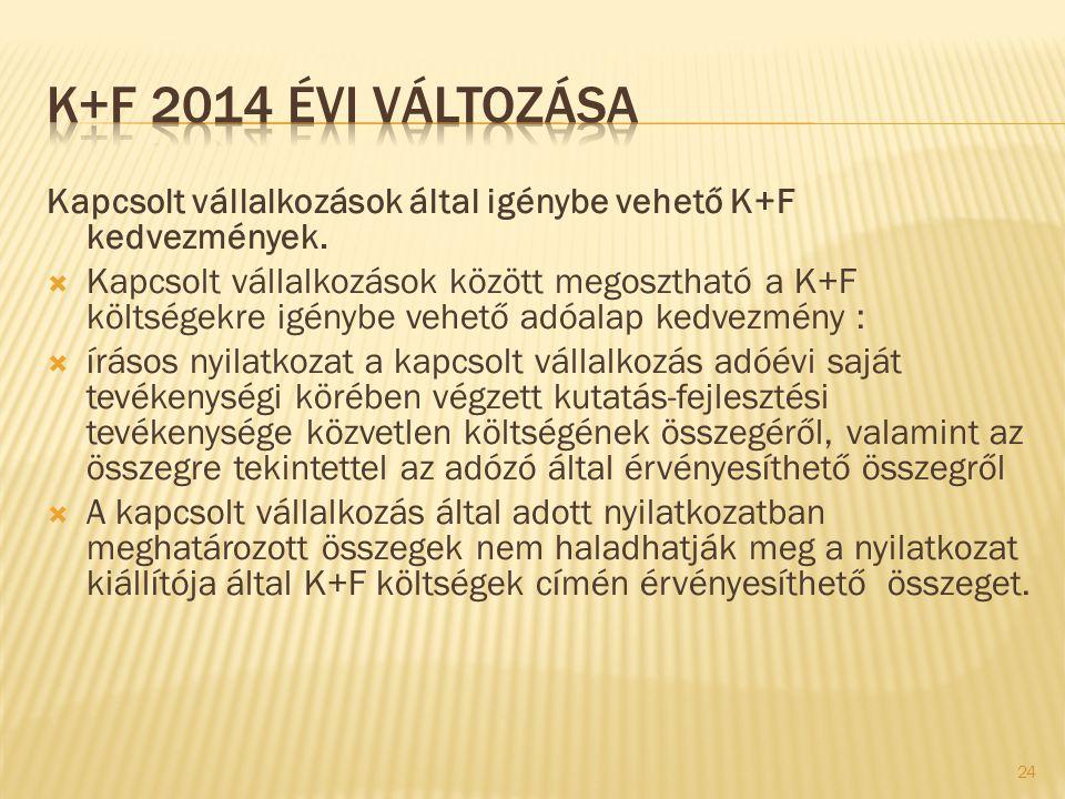 K+F 2014 évi változása Kapcsolt vállalkozások által igénybe vehető K+F kedvezmények.