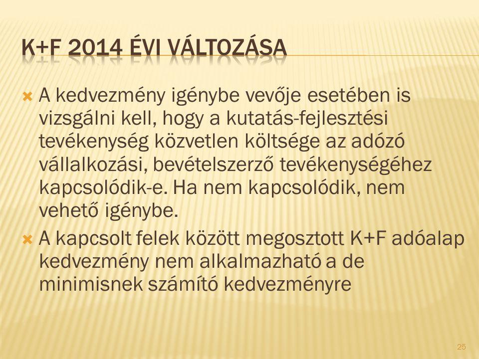 K+F 2014 évi változása