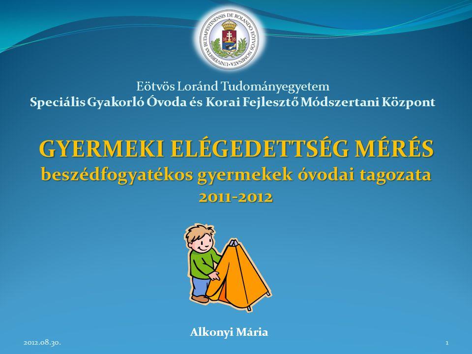 GYERMEKI ELÉGEDETTSÉG MÉRÉS beszédfogyatékos gyermekek óvodai tagozata