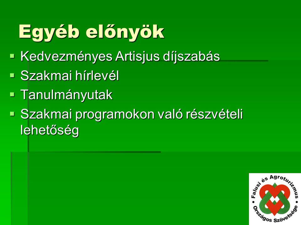 Egyéb előnyök Kedvezményes Artisjus díjszabás Szakmai hírlevél