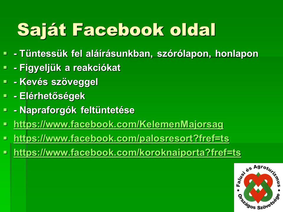 Saját Facebook oldal - Tüntessük fel aláírásunkban, szórólapon, honlapon. - Figyeljük a reakciókat.