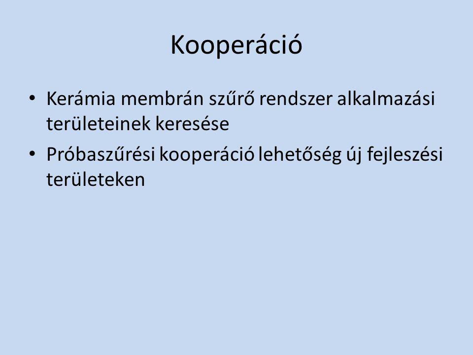 Kooperáció Kerámia membrán szűrő rendszer alkalmazási területeinek keresése.