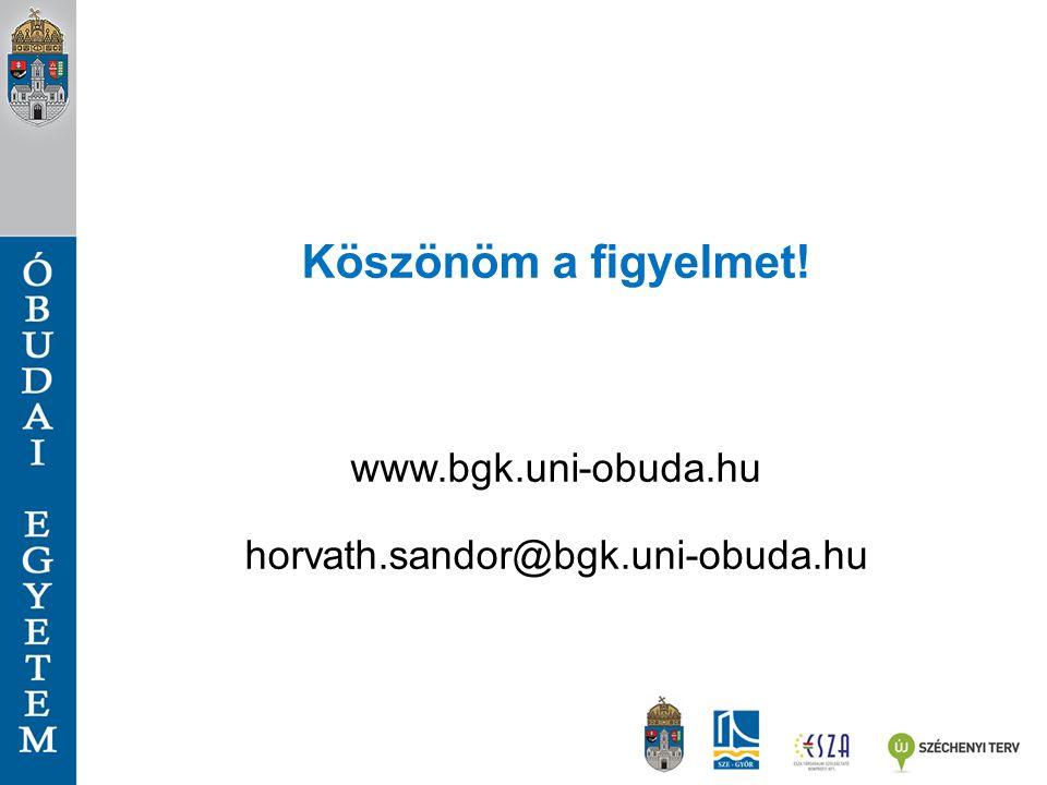 Köszönöm a figyelmet! www.bgk.uni-obuda.hu