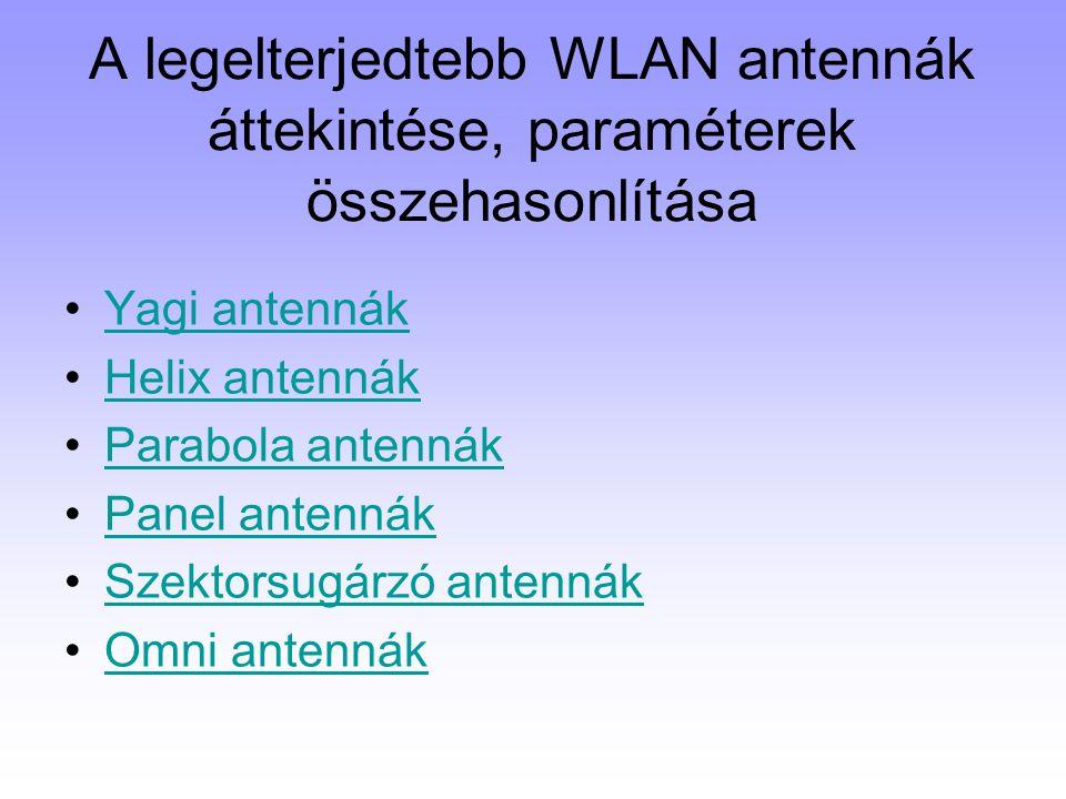 A legelterjedtebb WLAN antennák áttekintése, paraméterek összehasonlítása