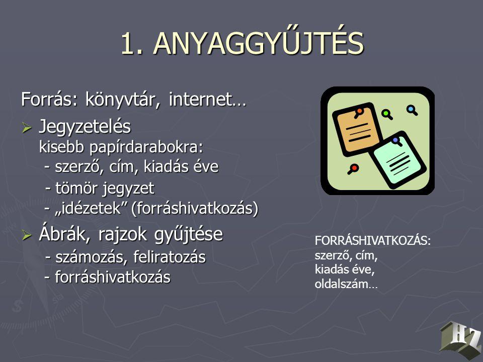 1. ANYAGGYŰJTÉS Forrás: könyvtár, internet…